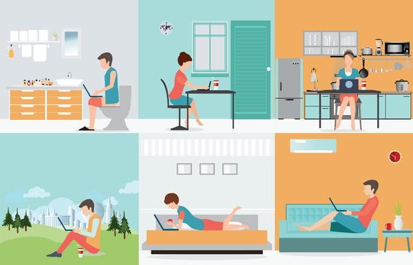 remote working scenes